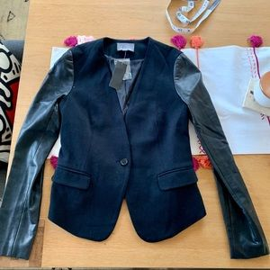 Tinley Toad faux leather sleeve blazer